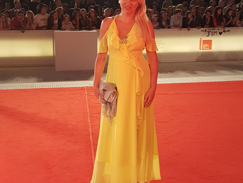 Silvia Busacca walks the Red Carpet during the 74th Venice International Film Festival